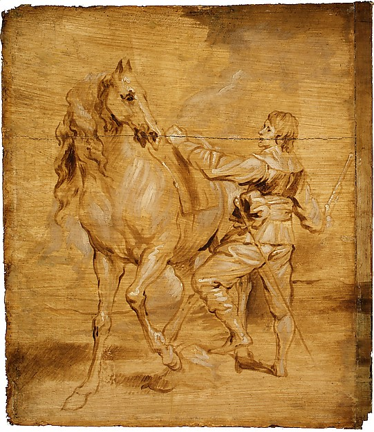 Fascinating Historical Picture of Anthony van Dyck with A Man Mounting a Horse in 1630