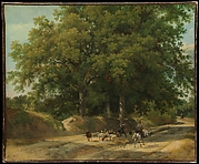 A Shepherd and a Rider on a Country Lane