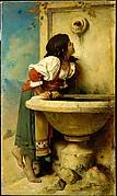 Roman Girl at a Fountain