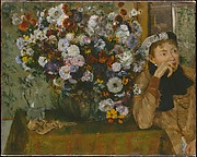 A Woman Seated beside a Vase of Flowers (Madame Paul Valpinon?)