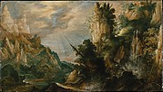 A Mountainous Landscape with a Waterfall