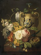Flowers by a Stone Vase