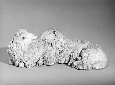 Pair of reclining sheep