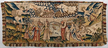 One of Two Panels from a Table Carpet Showing the Four Continents, the Seasons, and Four Planets
