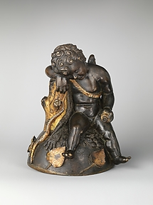 Gilt bronze with Cupid sleeping on the lion skin of Herakles