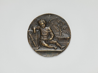 Bronze sleeping Cupid