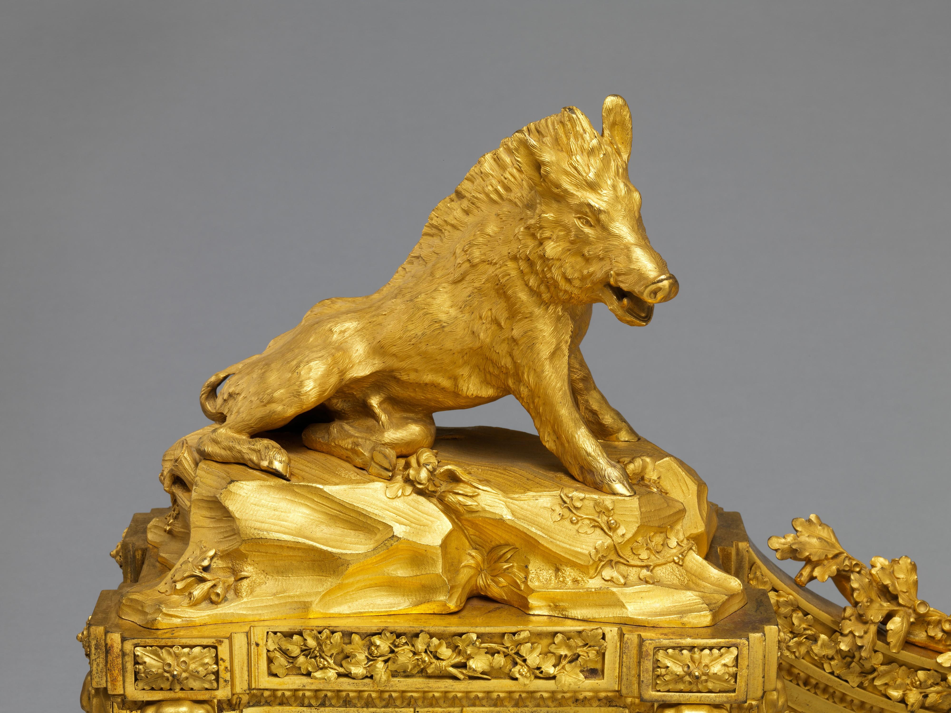 каминная пара, бронзовое литье, 1772, деталь, кабан