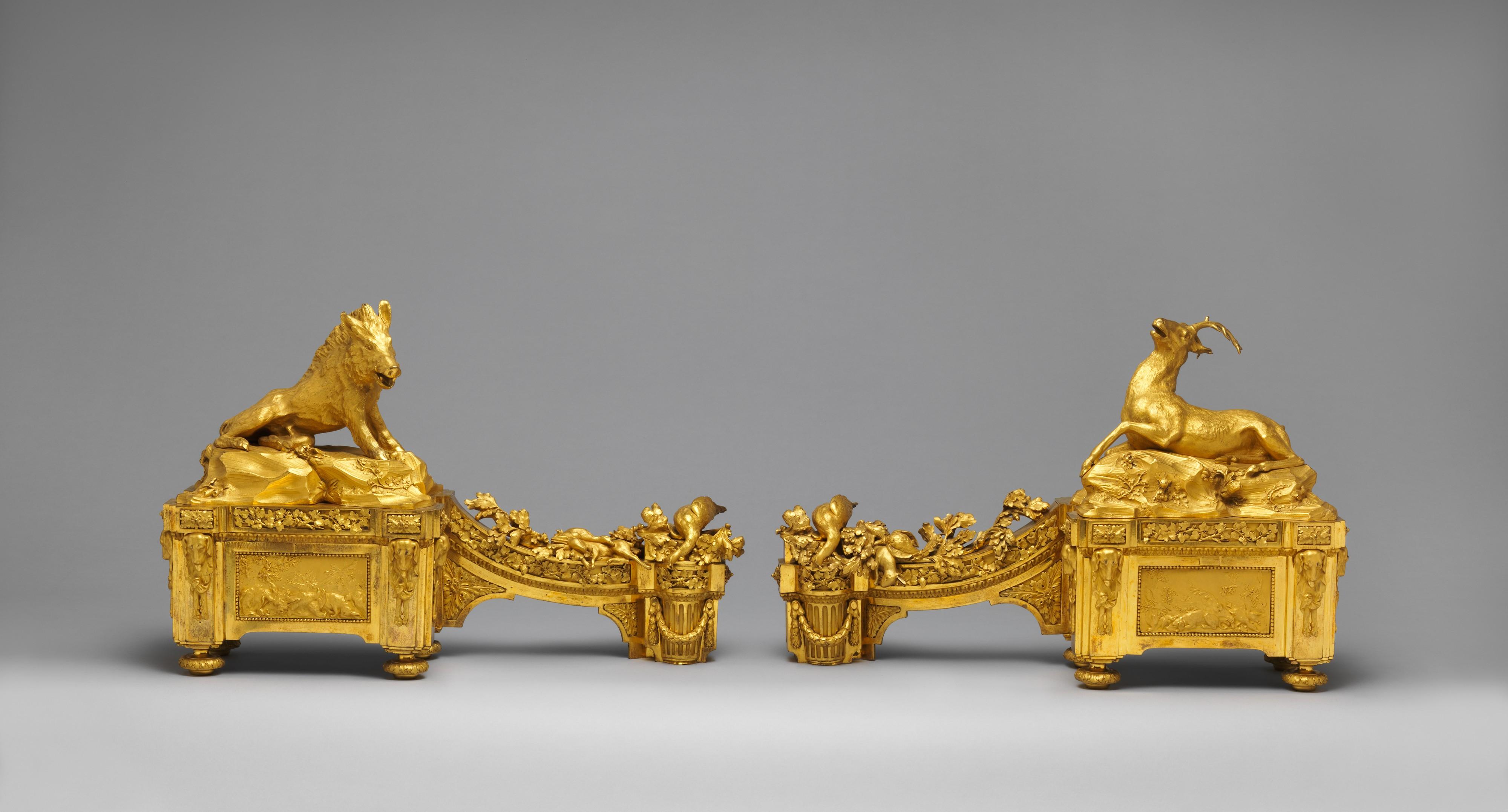 каминная пара, бронзовое литье, 1772, общий вид