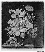 Flowers in a golden vase, with a parrot