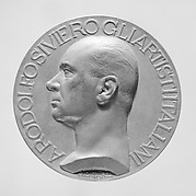 Commemorative medal honoring Rodolfo Siviero, the Italian scholar who headed a commission for the return of works of art to Italy that had been illicitly removed during World War II