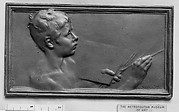 Nude bust of a boy painting (La Peinture) (one of a pair of designs for lock-plates)