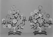 Pair of candelabra with porcelain flowers