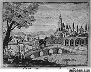 Riverview with figures and bridge