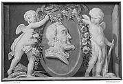 Bust of Henri IV in oval medallion with blue ground supported by two cupids