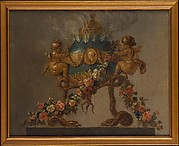 Perfume-burner supported by amorini and serpents and garlanded with flowers