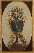 Vase of flowers draped with garlands