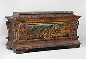 Cassone with painted front panel depicting the Conquest of Trebizond