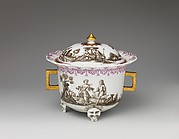Covered bowl with figures in landscape