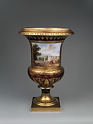 Medici vase with a scene of the chteau at Saint-Cloud (one of a pair)