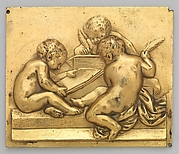 Frieze ornament depicting the theme of reading and writing