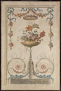 Vase of Flowers Resting on Foliate Scrolls