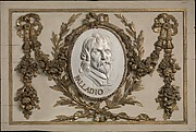 Panel for a decorative frieze with portrait of Palladio (from a set of six)