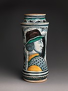 Storage jar (albarello) with a profile portrait