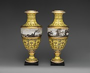 Pair of vases with scenes of storm at sea and land