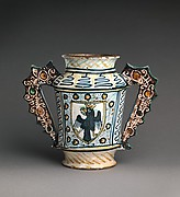Two-handled storage jug (albarello) with crowned eagles