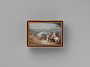 Snuffbox with four maritime scenes; Louis XIV crossing the Rhine in 1672