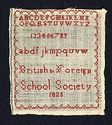 Sampler made at the British and Foreign School Society
