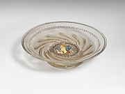 Low footed bowl with central medallion of the winged lion of St. Mark in colored enamels