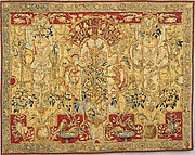Panel with grotesques, from a set of bed hangings