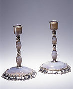 Candlestick with octagonal base (one of a pair)