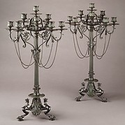 Ten-light Grecian-style candelabra (one of a pair)