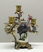 Candelabra with Meissen bird (one of a pair)