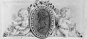 Profile portrait of a woman in a medallion supported by putti