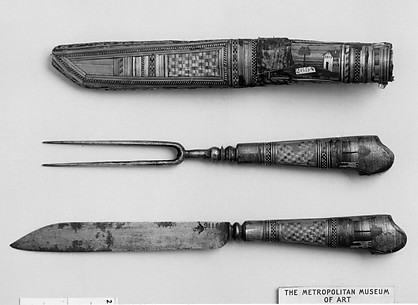 Knife, fork and scabbard
