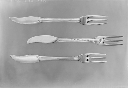 Set of six forks with knife handle