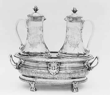 Cruet frame with later glass bottles