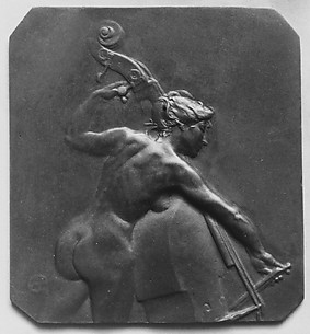 Female figure playing the bass-viol; said to be design of cover for bonbon-box