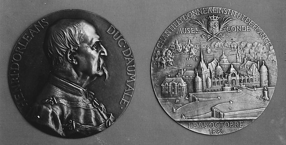 To commemorate the gift of his chateau de Chantilly to the nation, by the Duc d'Aumale on his banishment in 1886.
