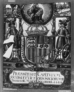 Panel with arms of the collegiate church of Saint Urse and Saint Victor and their fellow martyrs of the Theban Legion of Solothurn