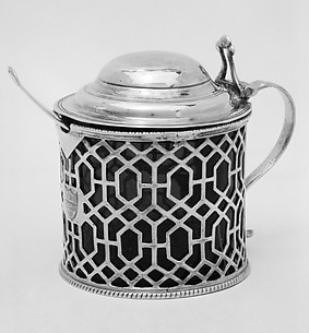 Mustard pot and spoon (one of a pair)