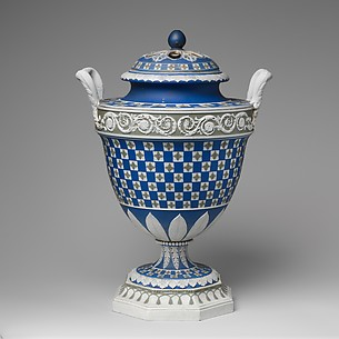 Urn with cover (one of a pair)