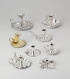 Collection of chamber candlesticks and tapersticks
