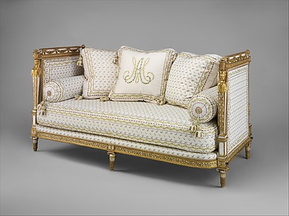 Set of furniture (daybed, armchair, and fire screen)