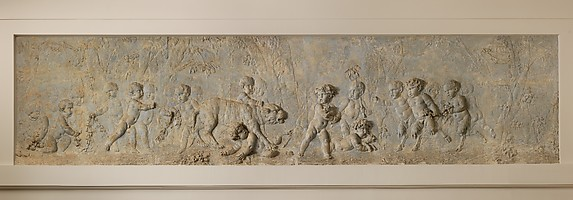 Children and satyr children stealing the cubs of a pantheress (part of a group)