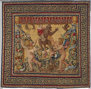 Two Putti Trying To Stop a Monkey Abducting a Child from a set of the Giochi di Putti