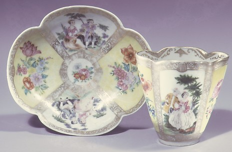 Cup and saucer (one of a pair)